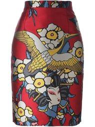 юбка с принтом гейши  Dsquared2