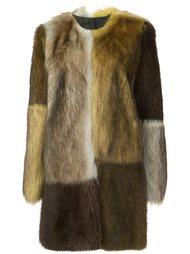 colour block fur coat Vera Wang
