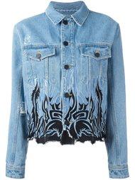 джинсовая куртка с вышивкой  Filles A Papa