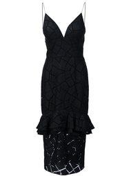 платье с оборчатой баской Christian Siriano