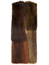 colour block fur vest Vera Wang
