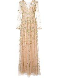 вечернее платье с цветочной вышивкой Marchesa Notte