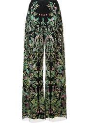 брюка-палацо с вышивкой Marchesa