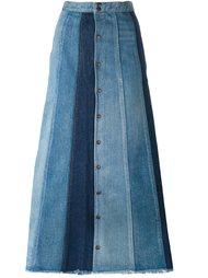 длинная лоскутная джинсовая юбка Saint Laurent