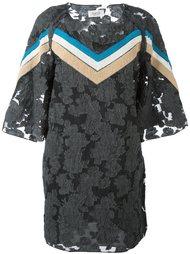 платье с цветочным узором и контрастными полосами Aviù