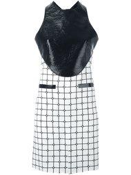 платье с контрастной панелью и узором в клетку Courrèges