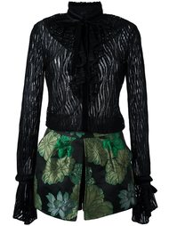 платье с оборками и цветочным узором на юбке Christian Pellizzari