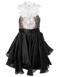декорированное платье с рюшами Marchesa