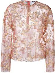 полупрозрачная блузка с цветочным принтом  MSGM