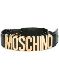 ремень с простроченной отделкой и бляшкой с логотипом Moschino