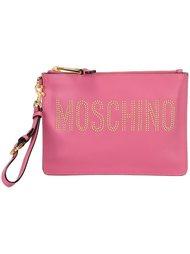 клатч с логотипом и заклепками Moschino