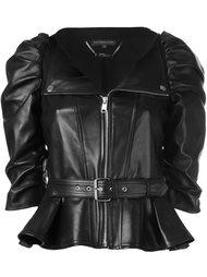 кожаная куртка с присборенными рукавами Alexander McQueen