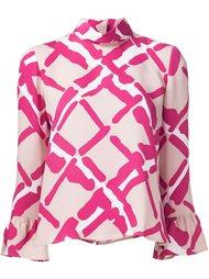 блузка с рисунком и оборками Derek Lam