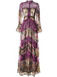 полосатое кружевное платье с узором пейсли Etro