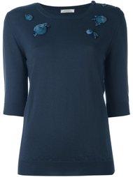 вязаная блузка с отделкой цветами Nina Ricci