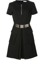zipped round neck dress Versace Collection
