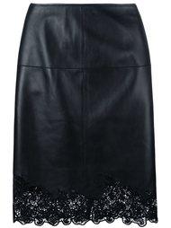 юбка-карандаш с кружевным подолом Lanvin