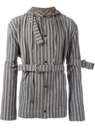striped belted hooded jacket Craig Green