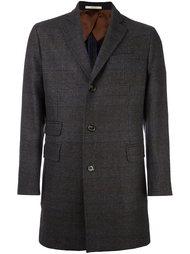однобортное клетчатое пальто Hackett