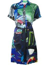 платье-рубашка с комбинированным принтом Julien David