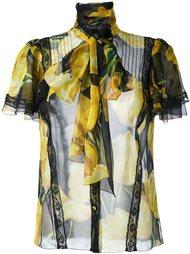 прозрачная рубашка с принтом тюльпанов Dolce & Gabbana