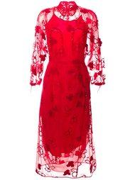 платье миди из тюля с цветочным узором Simone Rocha