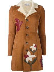 пальто из овчины с цветочной аппликацией Red Valentino