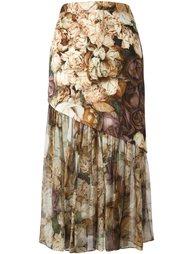 асимметричная юбка с цветочным принтом Christopher Kane