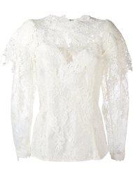 кружевная блузка с цветочным узором Lanvin