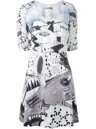 платье с рисунком и рукавами-баллон Tsumori Chisato