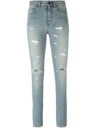 рваные узкие джинсы Saint Laurent