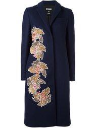 пальто с цветами из пайеток MSGM
