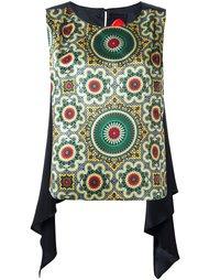 блузка с драпировкой и орнаментом Ultràchic