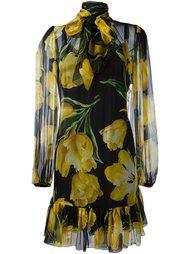 прозрачное платье с принтом тюльпанов Dolce & Gabbana