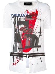 футболка с разрезом и молниями Dsquared2