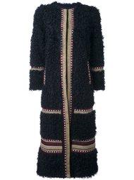 длинное пальто в полоску Red Valentino