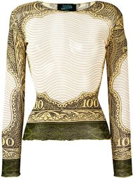 топ с принтом '100 dollar bill' Jean Paul Gaultier Vintage