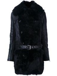 пальто с меховой отделкой  Sacai