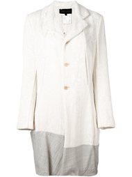 жаккардовое пальто с контрастным подолом Comme Des Garçons Vintage