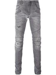 байкерские джинсы с потертой отделкой Pierre Balmain