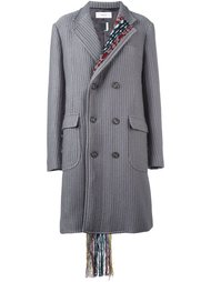 пальто в тонкую полоску с тканой отделкой  Facetasm