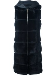 mink fur panelled puffer coat Liska