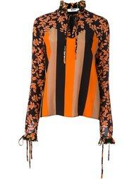 блузка в полоску с лиственным принтом MSGM