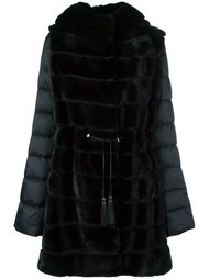 mink fur hooded puffer coat   Liska