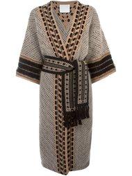 пальто с узором и поясом на талии Mame