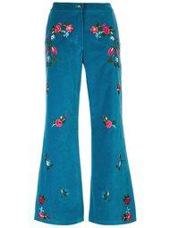 расклешенные брюки с цветочной вышивкой Vivetta