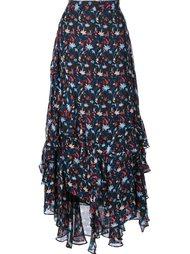 ruffle detail floral print skirt Tanya Taylor