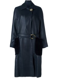 belted shearling long coat  Petar Petrov