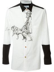 рубашка с контрастными панелями Yohji Yamamoto