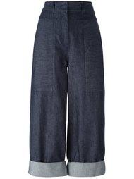 укороченные джинсы с принтом сзади Donna Karan